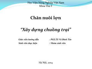 Học Viện Nông Nghiệp Việt Nam Khoa Thú Y