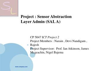 Project : Sensor Abstraction Layer Admin (SAL A)