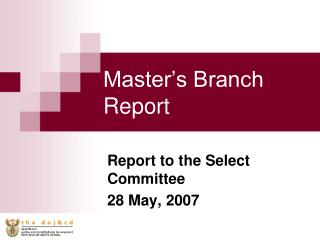 Master's Branch Report