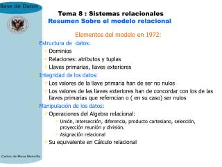 Tema 8 : Sistemas relacionales Resumen Sobre el modelo relacional