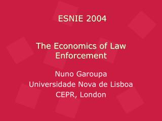 The Economics of Law Enforcement