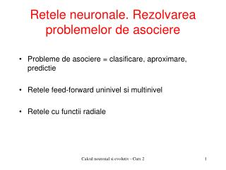 Retele neuronale. Rezolvarea  problemelor de asociere
