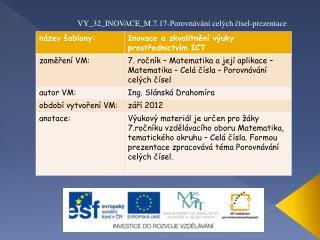 VY_32_INOVACE_M.7.17-Porovnávání celých čísel-prezentace
