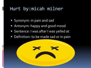 Hurt  by:micah milner