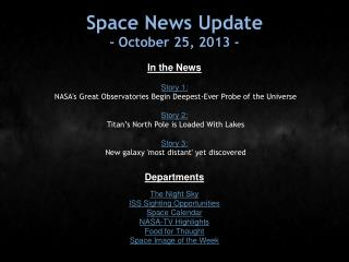 Space News Update - October 25, 2013 -