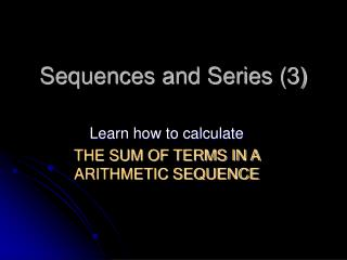 Sequences and Series (3)