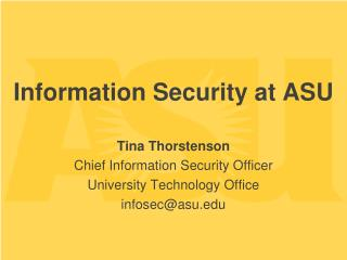 Information Security at ASU