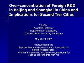 Yifei Sun Assistant Professor Department of Geography California State University Northridge