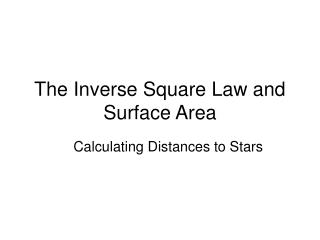 The Inverse Square Law and Surface Area
