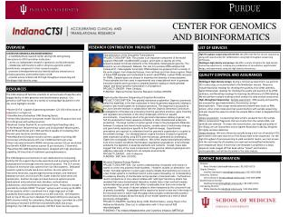 CENTER FOR GENOMICS AND BIOINFORMATICS