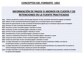 CONCEPTOS DEL FORMATO  1001