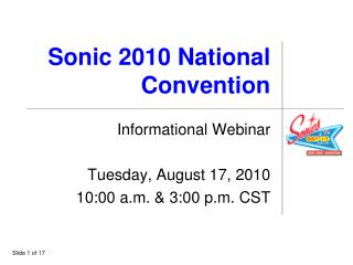 Sonic 2010 National Convention