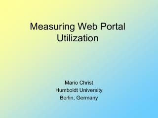 Measuring Web Portal Utilization