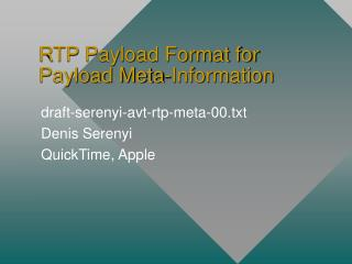 RTP Payload Format for Payload Meta-Information