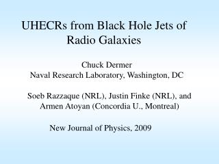 UHECRs from Black Hole Jets of Radio Galaxies