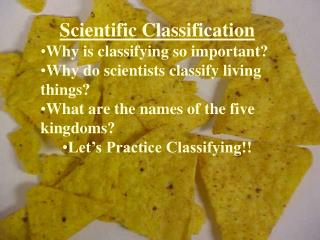 Scientific Classification Why is classifying so important?