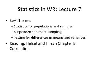 Statistics in WR: Lecture 7