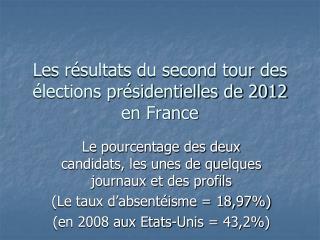 Les résultats du second tour des élections présidentielles de 2012 en France