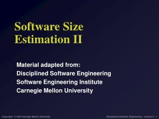 Software Size Estimation II