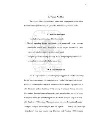5 B.  Tujuan Penelitian Tujuan penelitian ini adalah untuk mengetahui hubungan antara intensitas