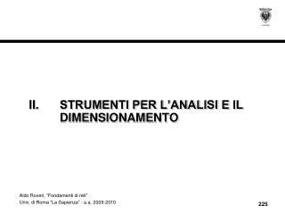 II.STRUMENTI PER L'ANALISI E IL DIMENSIONAMENTO