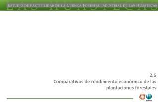 2.6 Comparativos de rendimiento económico de las plantaciones forestales