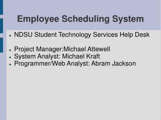 Employee Scheduling System