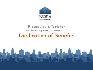 Duplication of Benefits