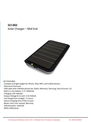 SCI-002 Solar Charger – Mid End
