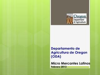 Departamento  de  Agricultura  de Oregon (ODA)