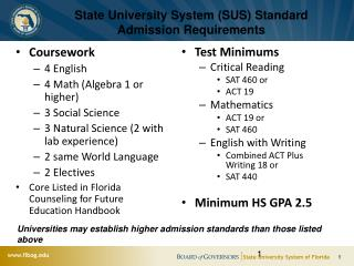 State University System (SUS) Standard Admission Requirements