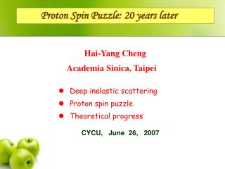 Proton Spin Puzzle: 20 years later