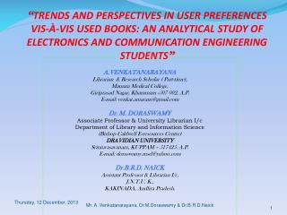 A.VENKATANARAYANA Librarian  & Research Scholar ( Part-time), Mamata Medical College,