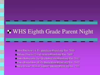 WHS Eighth Grade Parent Night