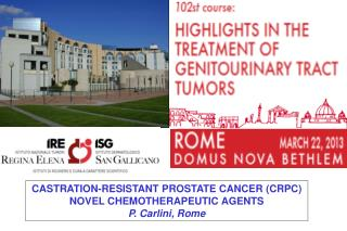 CASTRATION-RESISTANT PROSTATE CANCER (CRPC) NOVEL CHEMOTHERAPEUTIC AGENTS P. Carlini, Rome