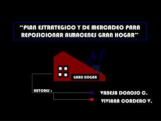 """""""PLAN ESTRATEGICO Y DE MERCADEO PARA REPOSICIONAR ALMACENES GRAN HOGAR"""""""