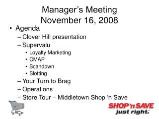 Manager's Meeting  November 16, 2008