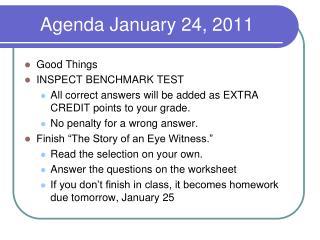 Agenda January 24, 2011