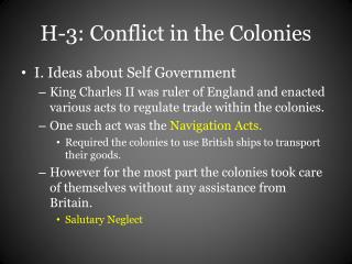 H-3: Conflict in the Colonies