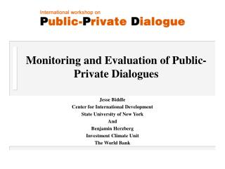 Monitoring and Evaluation of Public-Private Dialogues