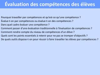 valuation des comp tences des  l ves