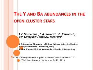 The Y and  Ba  abundances in the open cluster stars
