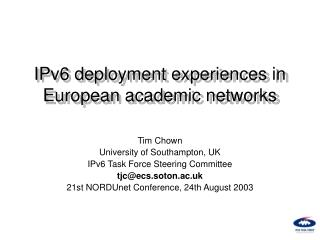 IPv6 deployment experiences in European academic networks