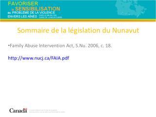 Sommaire de la législation du Nunavut