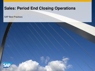 Sales: Period End Closing Operations