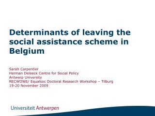 Determinants of leaving the social assistance scheme in Belgium