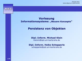 Vorlesung Informationssysteme:  Neuere Konzepte