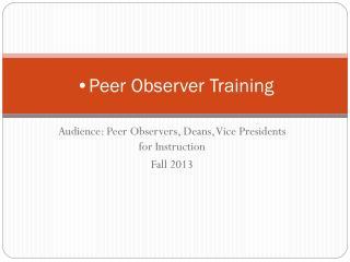 Peer Observer Training