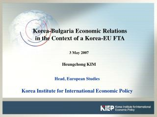 Korea-Bulgaria Economic Relations  in the Context of a Korea-EU FTA
