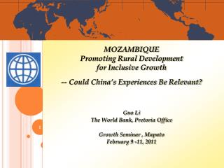 MOZAMBIQUE Promoting Rural Development  for Inclusive Growth